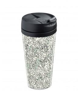 Mug de voyage personnalisable dahlia noir et blanc fond vert