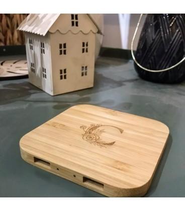 Chargeur sans fil induction bois bambou personnalisable