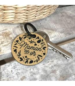 Porte clefs Maman en or