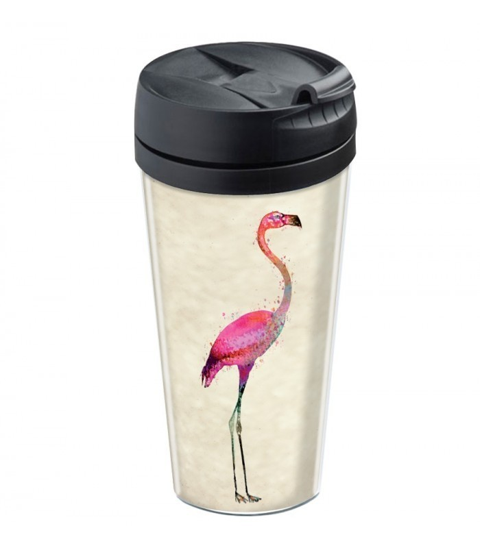 mug de voyage personnalisable isotherme flamingo wantit. Black Bedroom Furniture Sets. Home Design Ideas