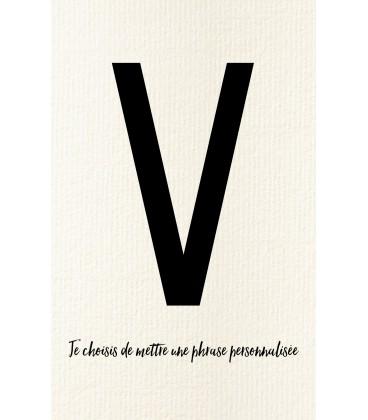 Carte postale déco personnalisable lettre V