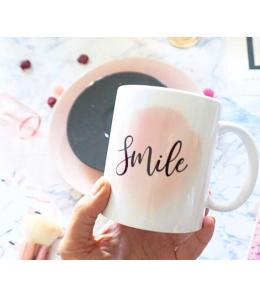 Mug céramique personnalisable - Effet Aquarelle rose