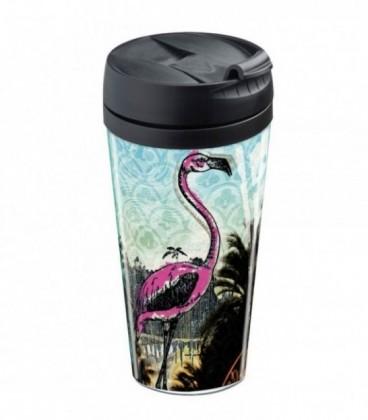 Mug de voyage personnalisable isotherme Flamant rose et palmiers