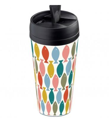Mug thermos personnalisable motif poisson scandinave vintage