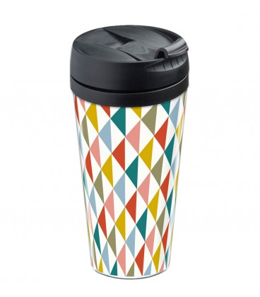 Mug de voyage personnalisable motif losange scandinave vintage