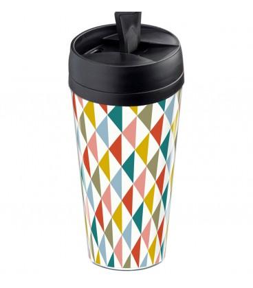 Mug thermos personnalisable motif losange scandinave vintage