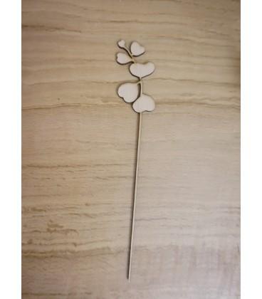 Fleur en bois modèle 5 - Hauteur : 29 cm