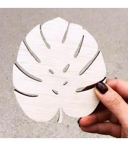 Dessous de verre en bois feuille de Monstera