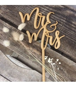 Cake topper en bois Mr & Mrs