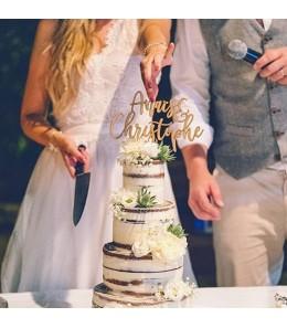 Cake topper mariage deux prénoms bois