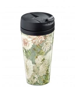 Mug de voyage personnalisable isotherme Flower blanc